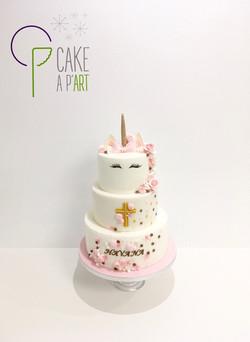 - Gâteau personnalisé baptême enfant - Thème Licorne et fleurs