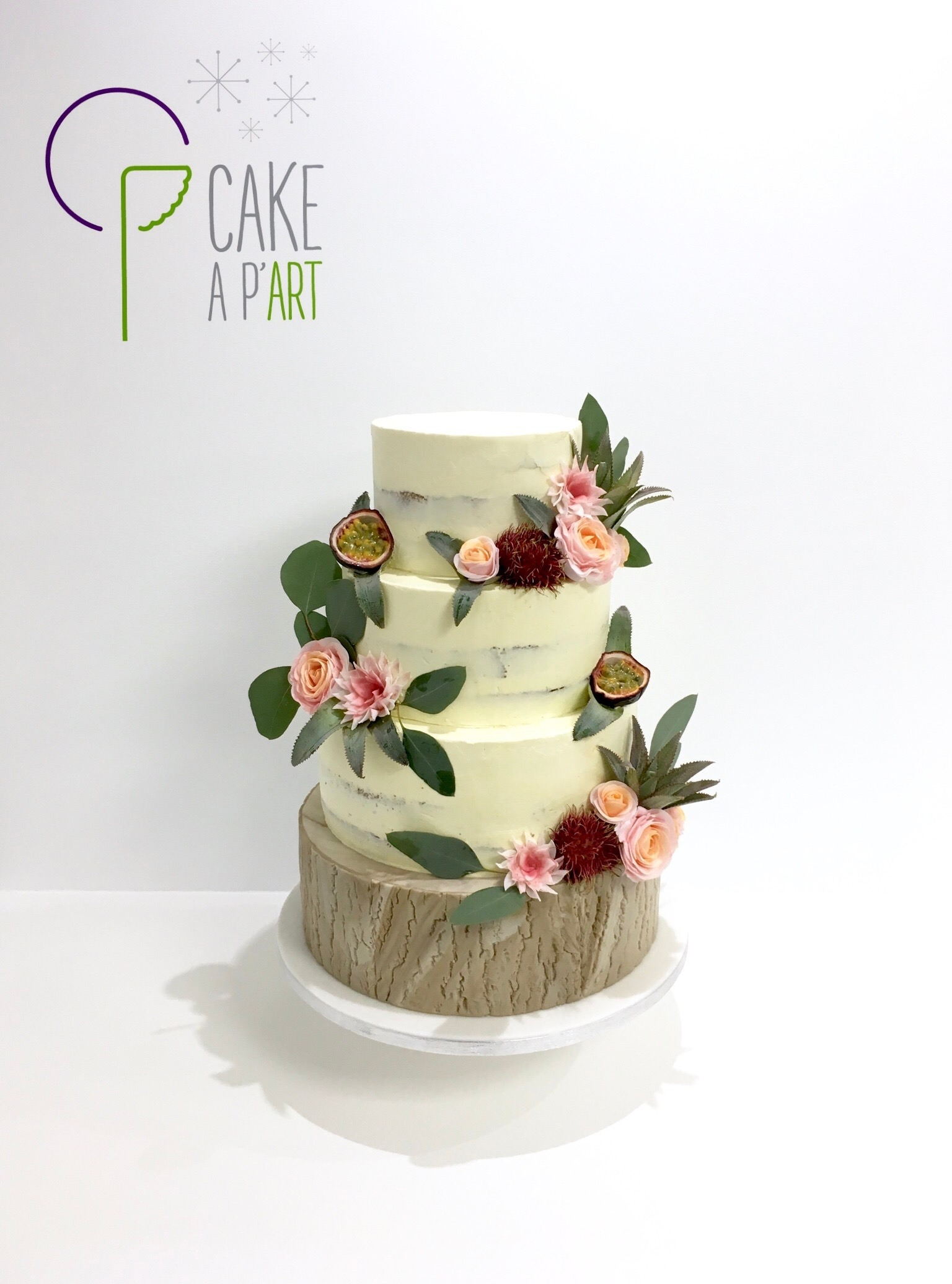 Wedding Cake Pièce montée Mariage - Nude Cake Bois exotique