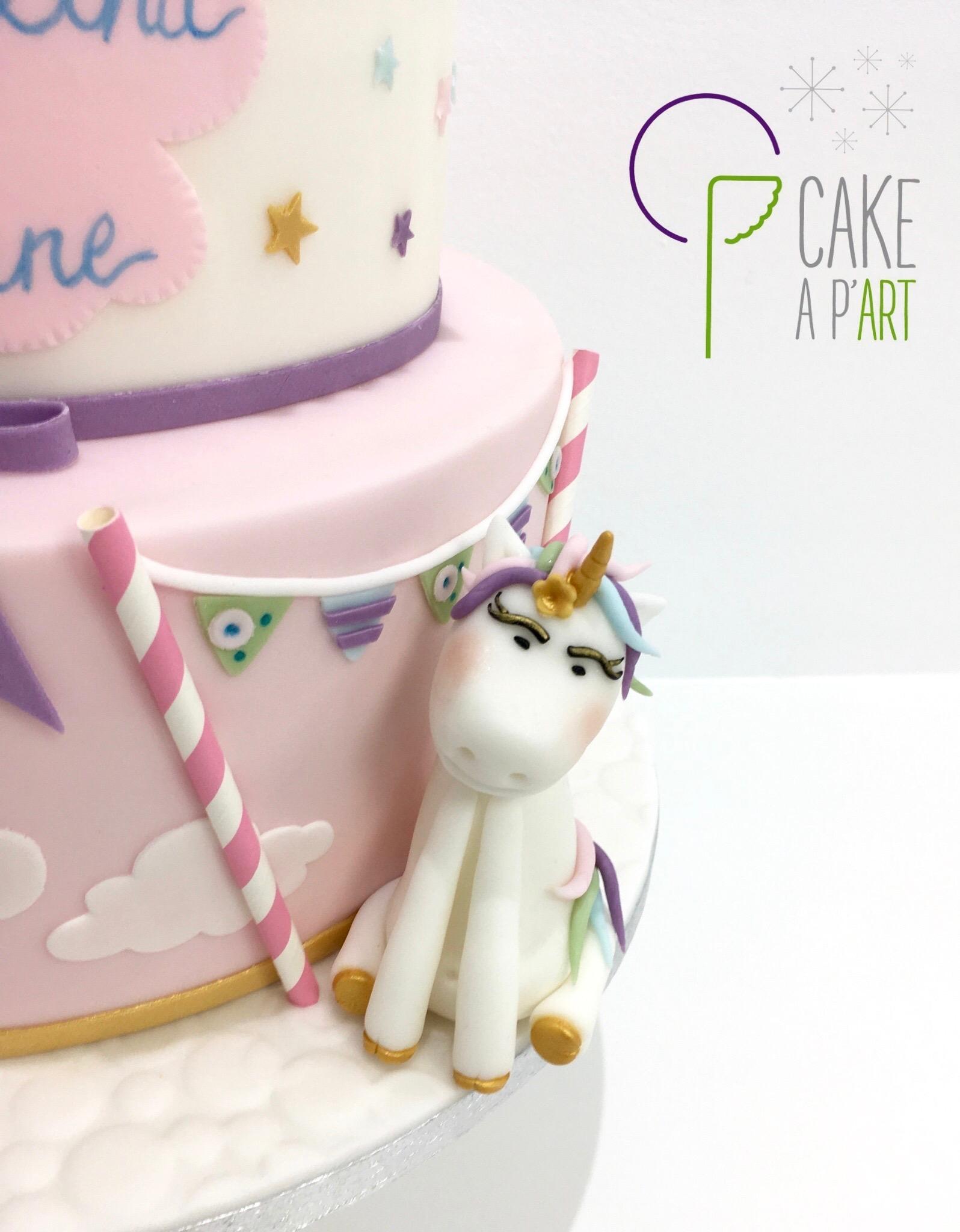 - Gâteau personnalisé baptême enfant - Thème Licorne