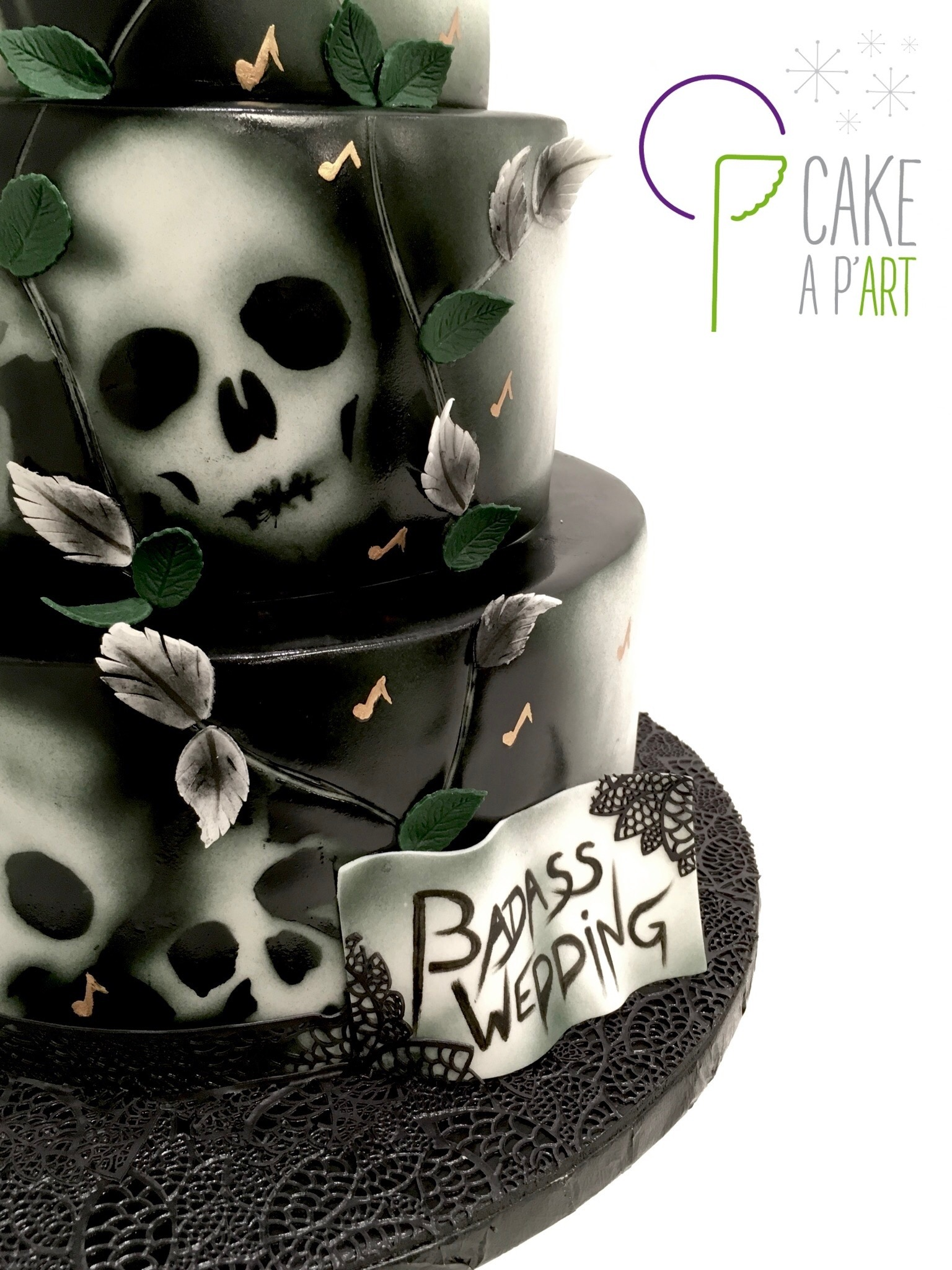 Wedding Cake Pièce montée Mariage - Thème Badass Wedding Hard Rock et tête de mort
