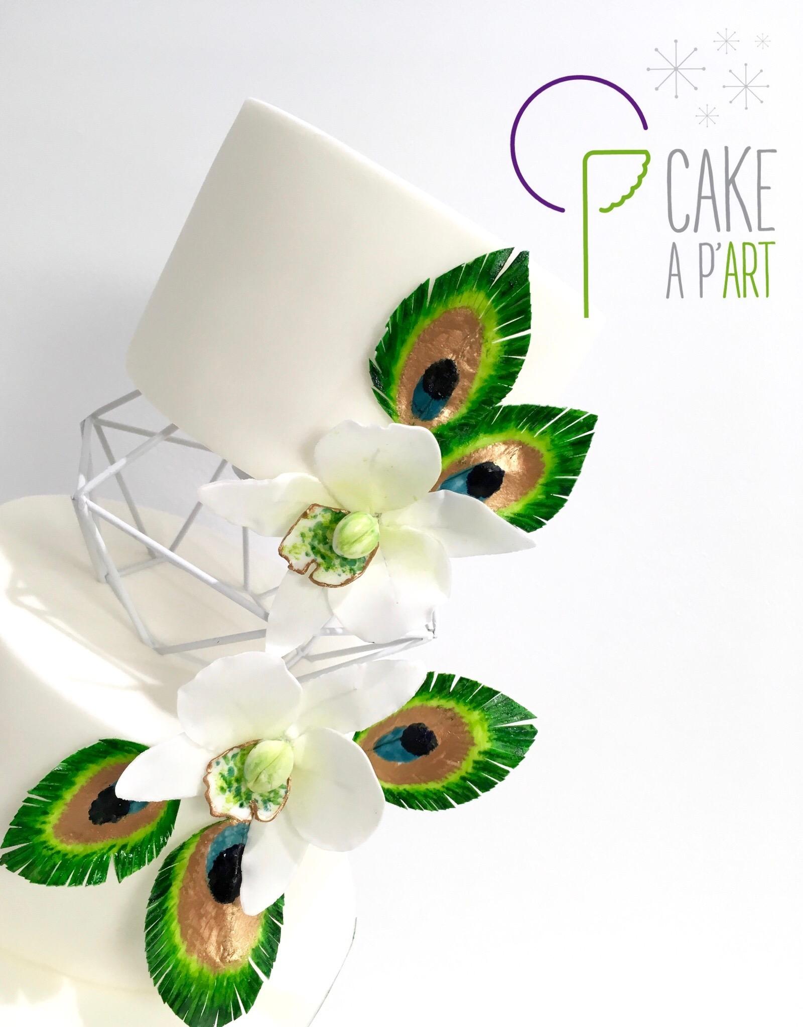 Décor en sucre gâteaux personnalisés - Mariage Orchidées et plumes de paon