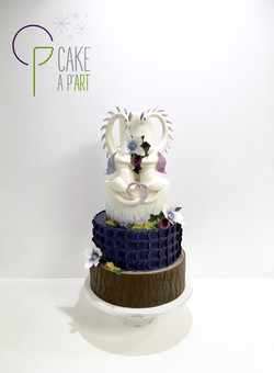 Wedding Cake Pièce montée Mariage - Thème Forêt Fantasy Dragons