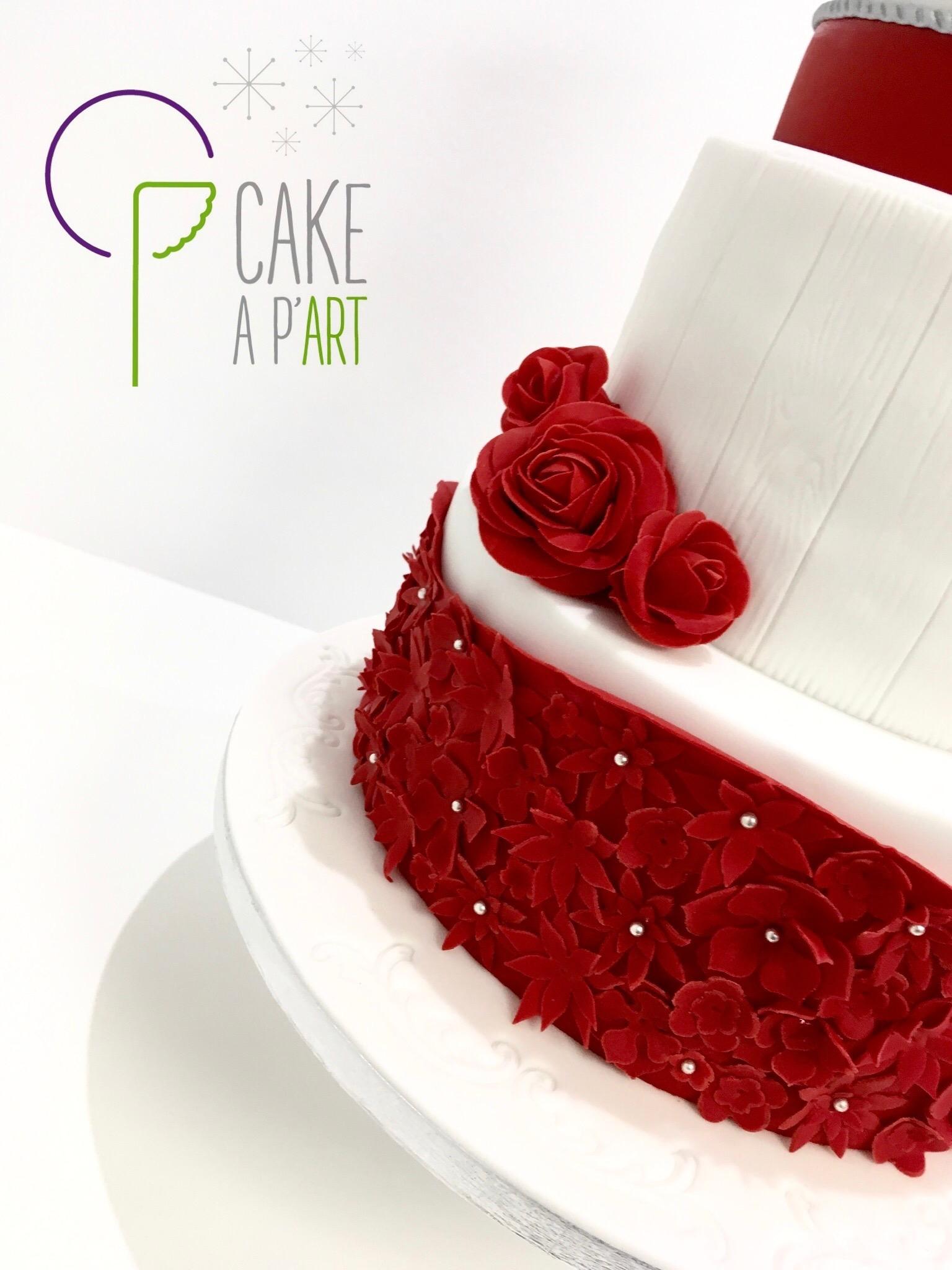 Décor en sucre gâteaux personnalisés - Mariage Fleurs et roses rouges