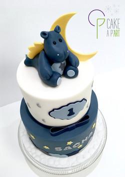 Décor modelage en sucre gâteaux personnalisés - Anniversaire Thème Victor et Lucien Hippopotame