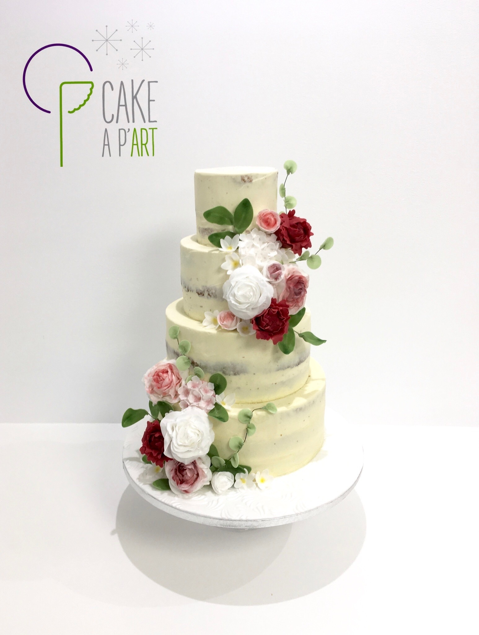 Wedding Cake Pièce montée Mariage - Nude Cake Champêtre floral