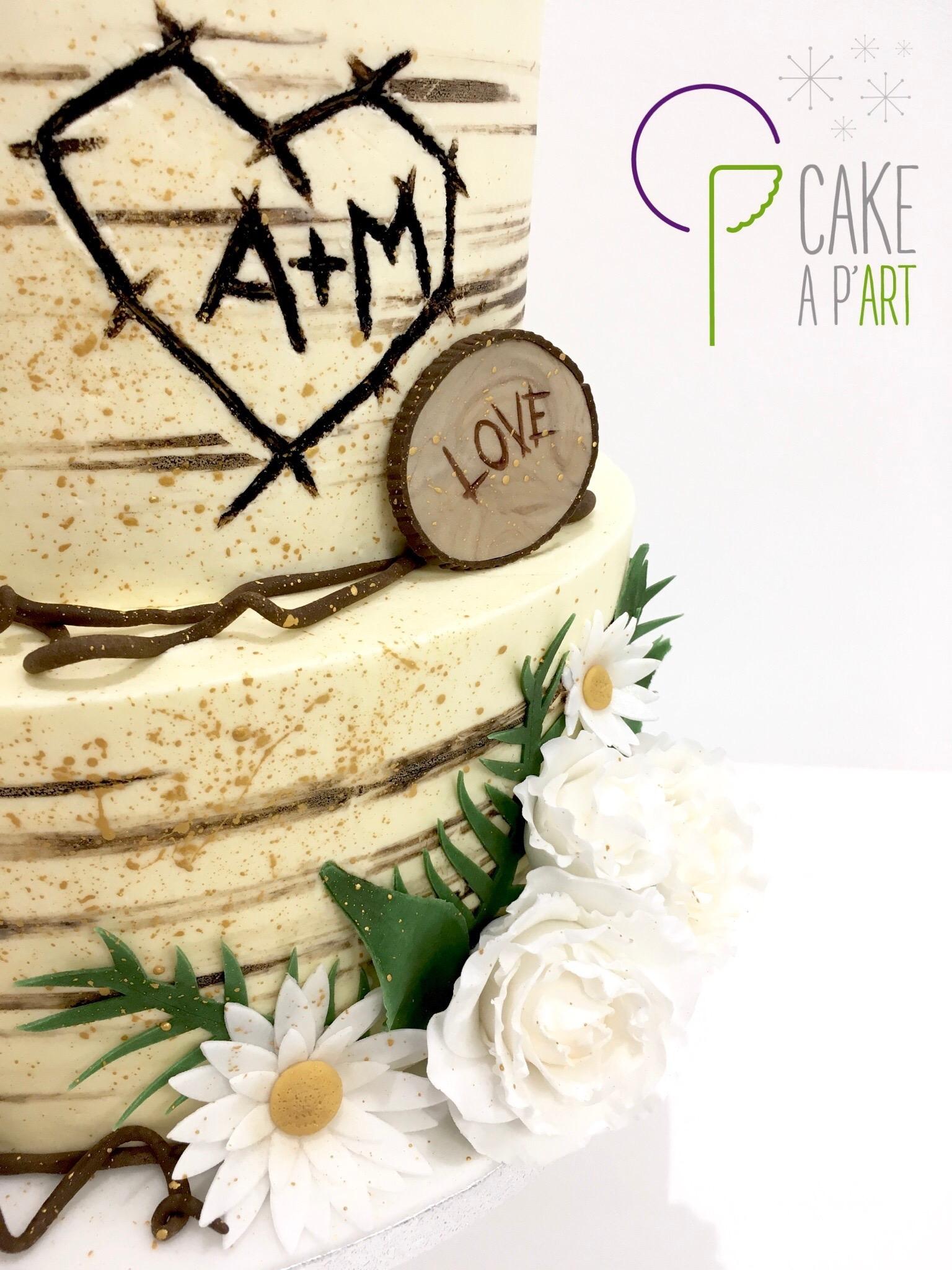 Wedding Cake Pièce montée Mariage - Nude Cake Champêtre Ecorce de bois