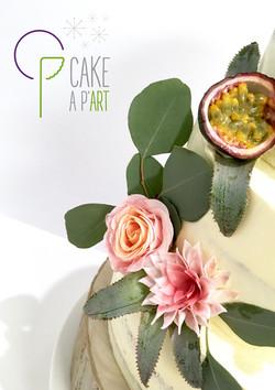 Décor en sucre gâteaux personnalisés - Nude Cake Mariage Fleurs et fruits exotiques