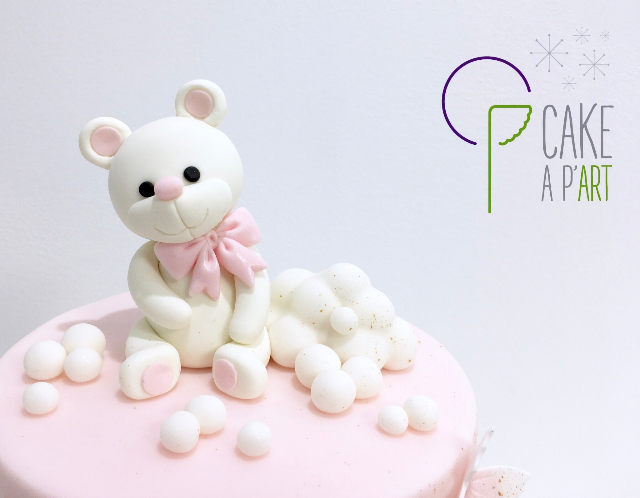 Décor modelage en sucre gâteaux personnalisés - Anniversaire Thème Ourson et nuage