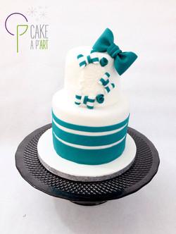 - Gâteau personnalisé baptême enfant - Thème Noeud turquoise