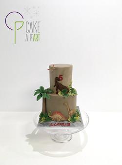 - Gâteau personnalisé anniversaire enfant - Thème Dinosaures Jungle Palmier