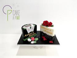 Gâteau sur mesure anniversaire adulte - Thème Dauphin Poker Floral et dentelle