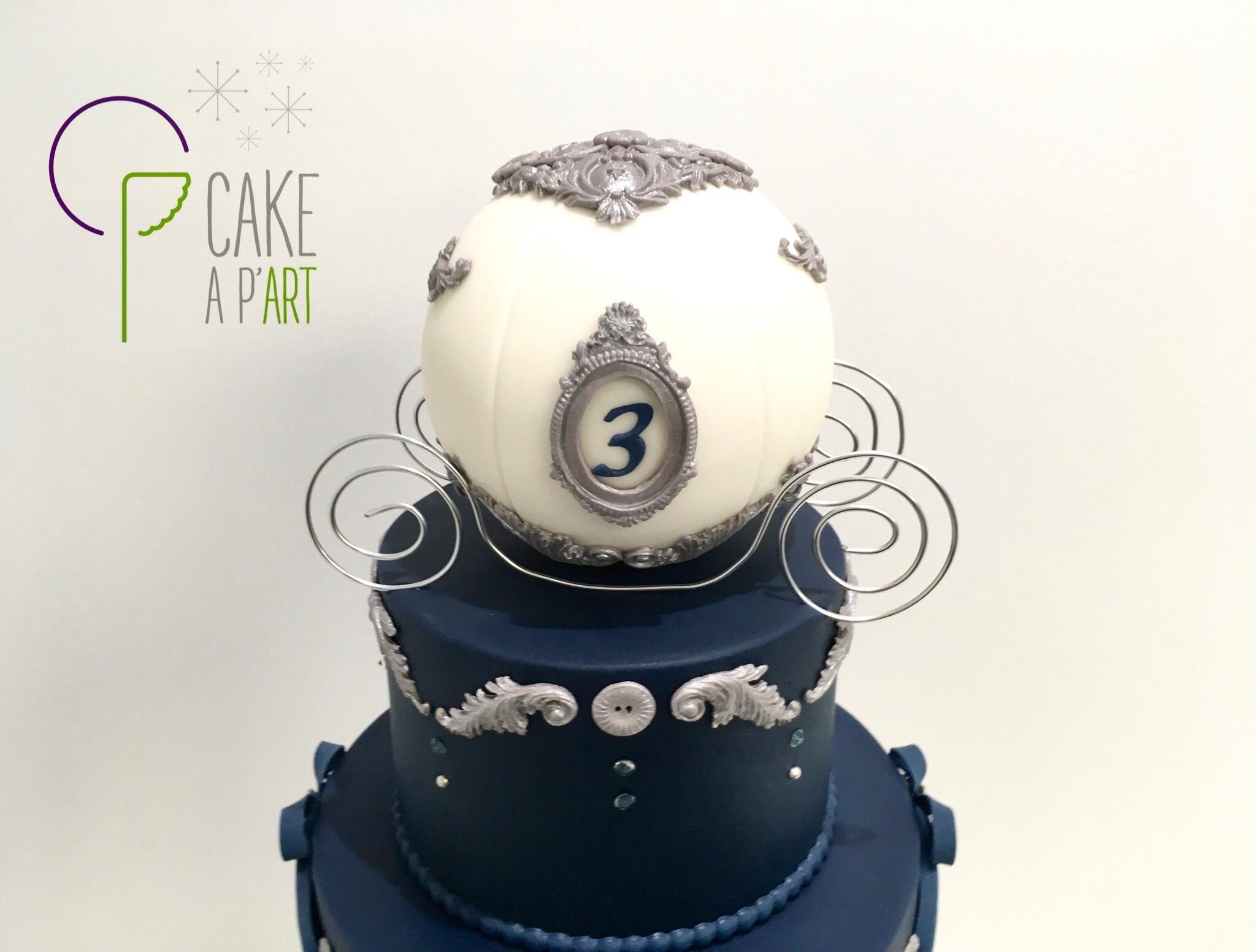 Décor modelage en sucre gâteaux personnalisés - Anniversaire Thème Cendrillon Bleu nuit