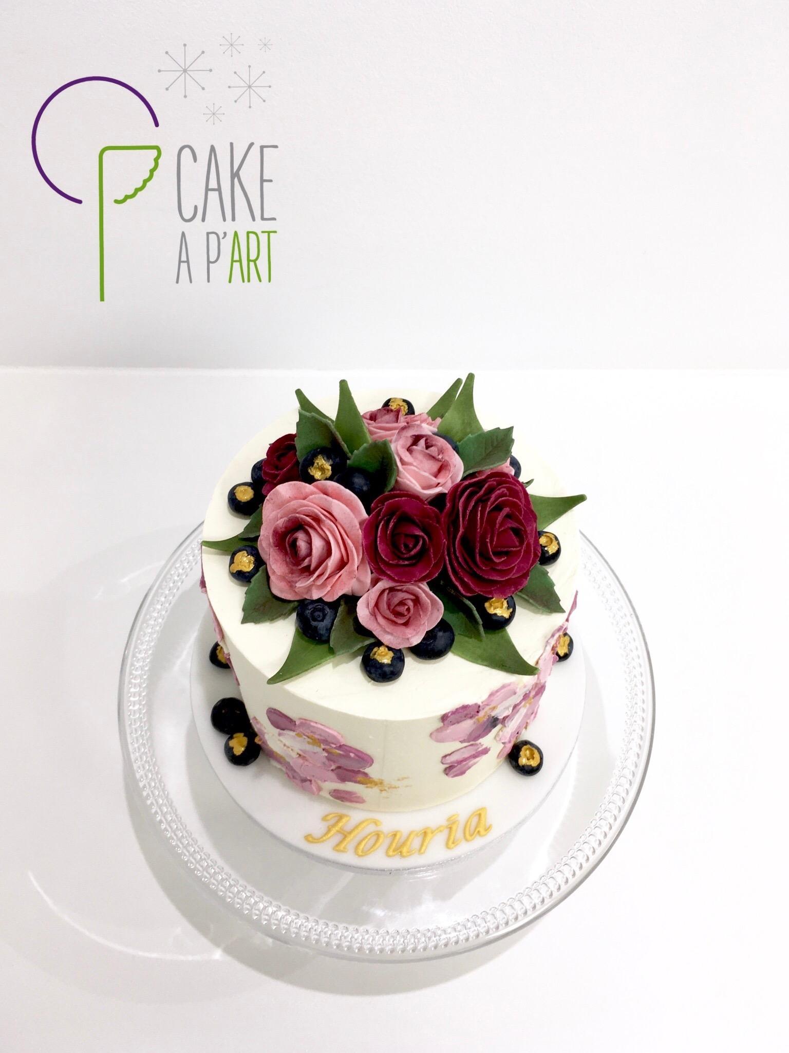 Décor en sucre gâteaux personnalisés - Anniversaire Fleurs Bouquet de roses et feuillage