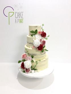 Wedding Cake Pièce montée Mariage - Nude Cake Champêtre bouquet floral