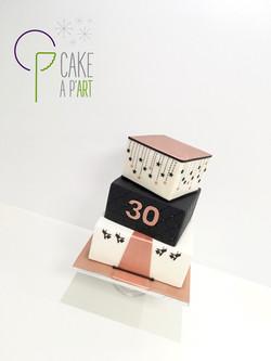 Gâteau sur mesure anniversaire adulte - Thème Jet set Rose Gold