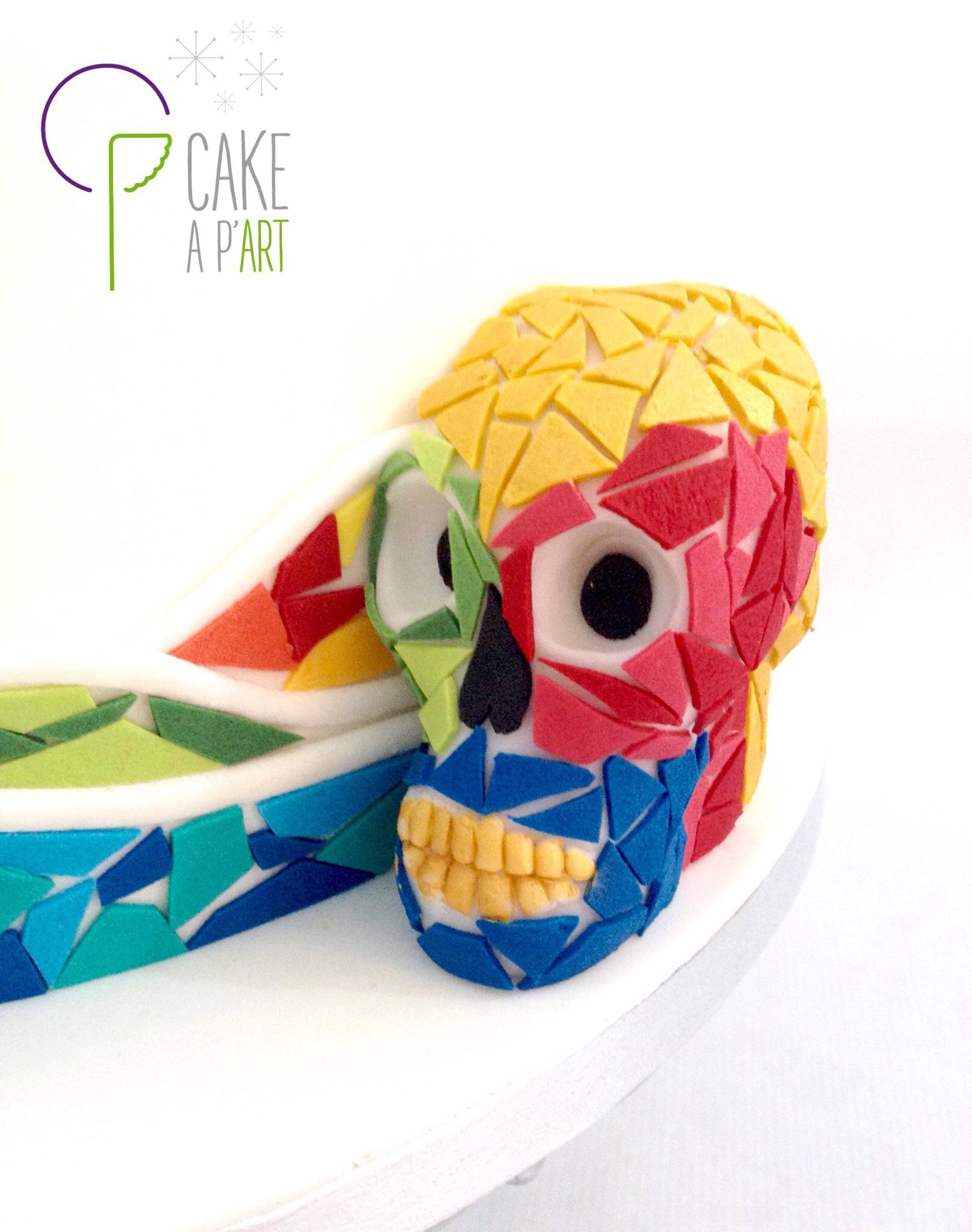 Décor modelage en sucre gâteaux personnalisés - Mariage Thème Arts MosaÏque Gaudi Crâne