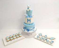 Gâteaux individuels personnalisés Babyshower - Sablés décorés et Mini cupcakes Thème Ourson bleu