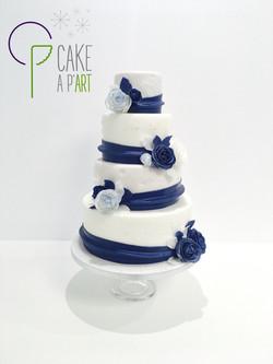 Wedding Cake Pièce montée Mariage - Thème Drapé Bleu nuit