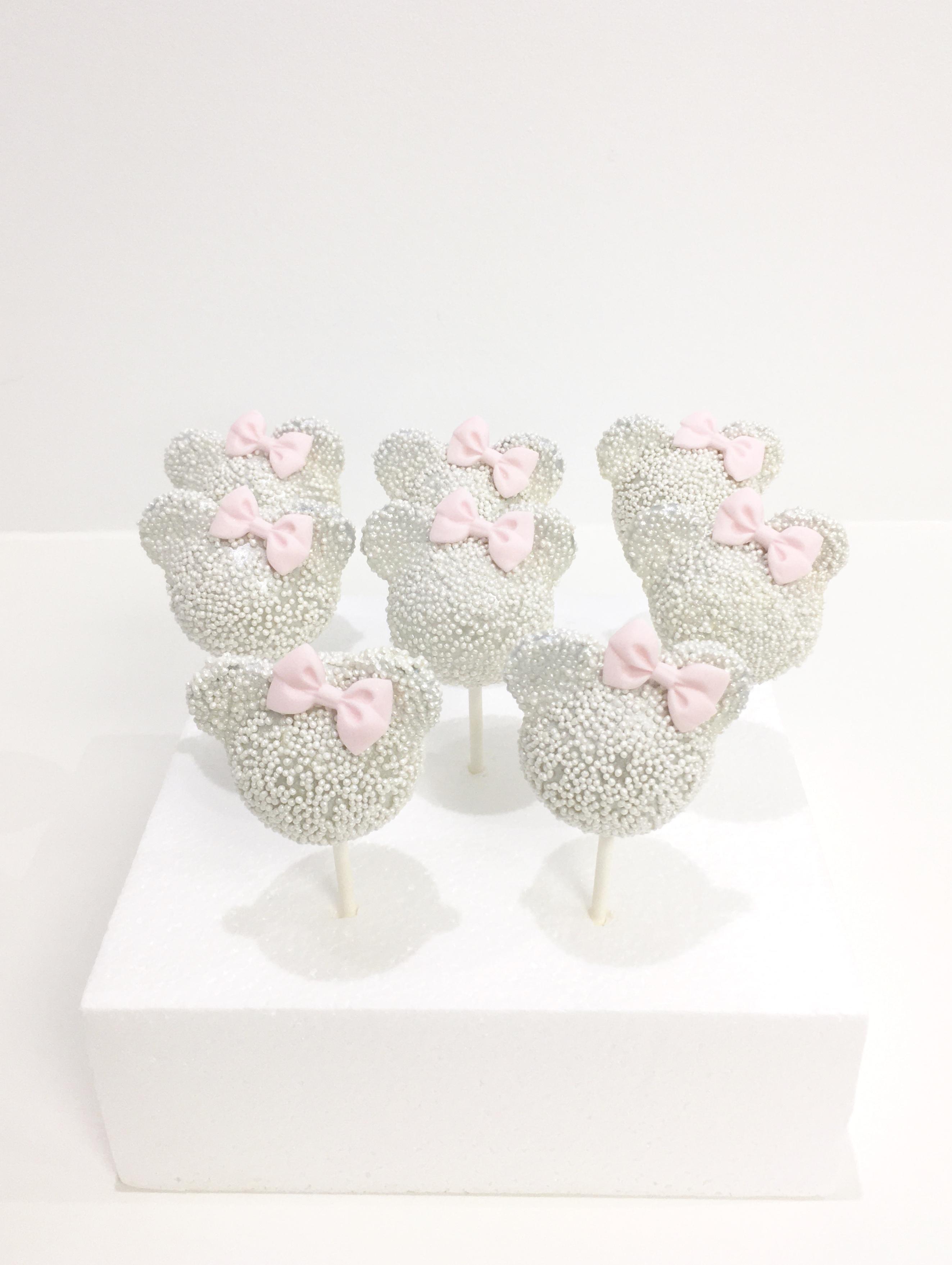 Gâteaux individuels personnalisés Baptême - Popcakes Thème Minnie et noeuds