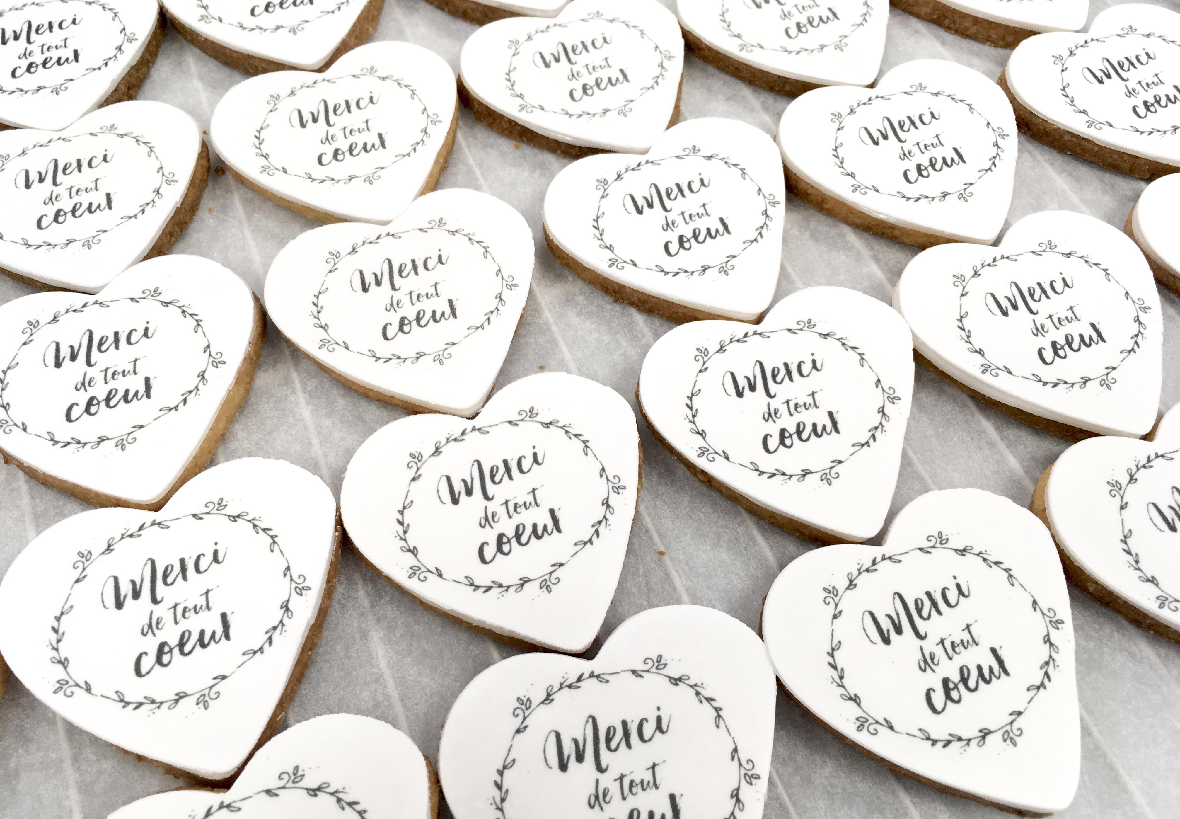 Gâteaux individuels personnalisés Mariage - Sablés décorés Impression alimentaire Remerciements