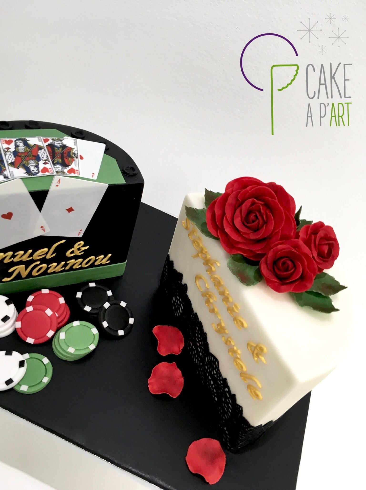 Décor en sucre gâteaux personnalisés - Anniversaire Fleurs Roses rouges et feuillage