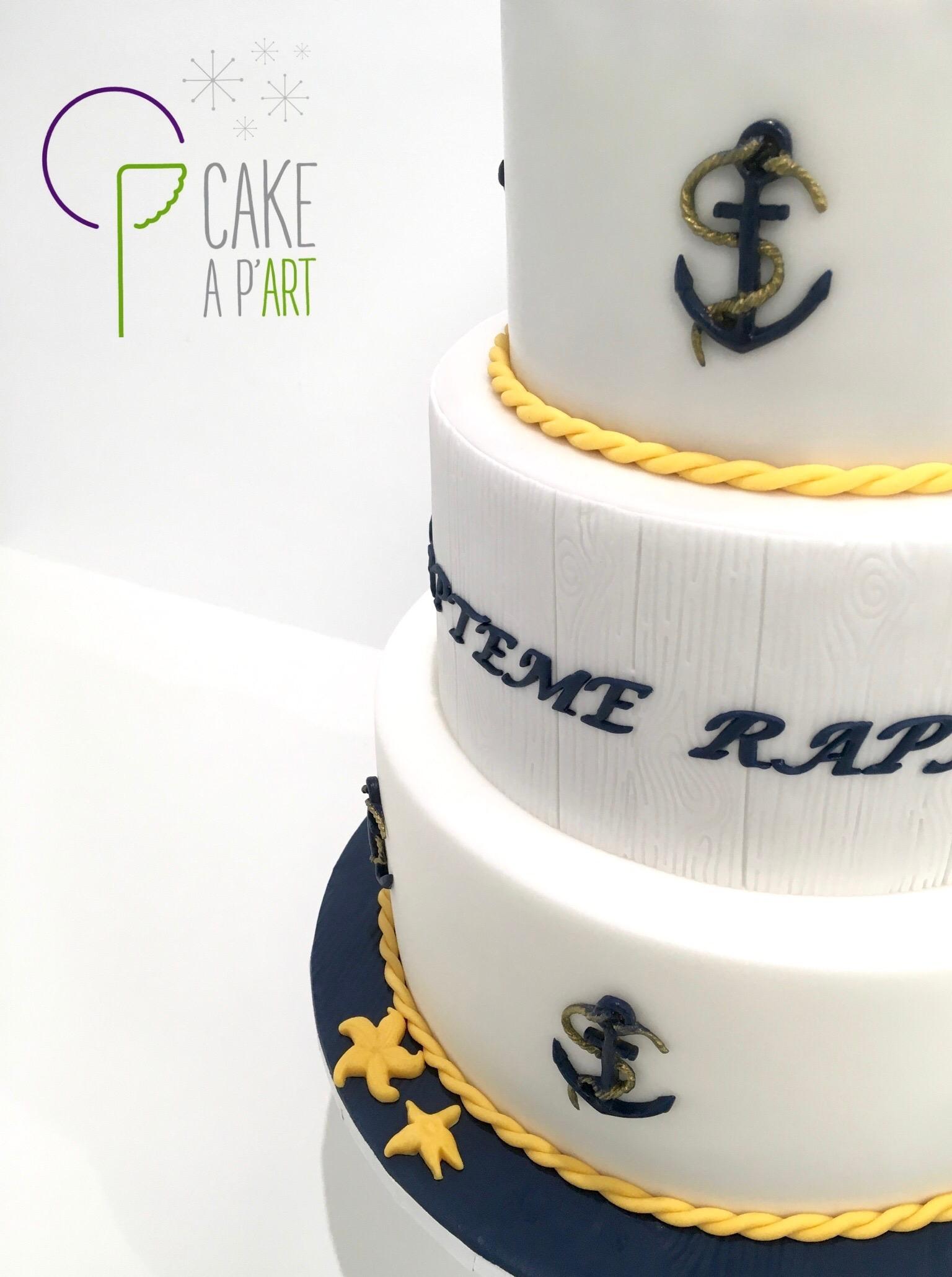 - Gâteau personnalisé baptême enfant - Thème Marin