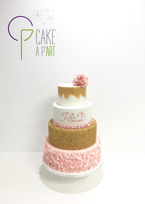 Wedding Cake Pièce montée Mariage - Thème Rose poudré Doré Or