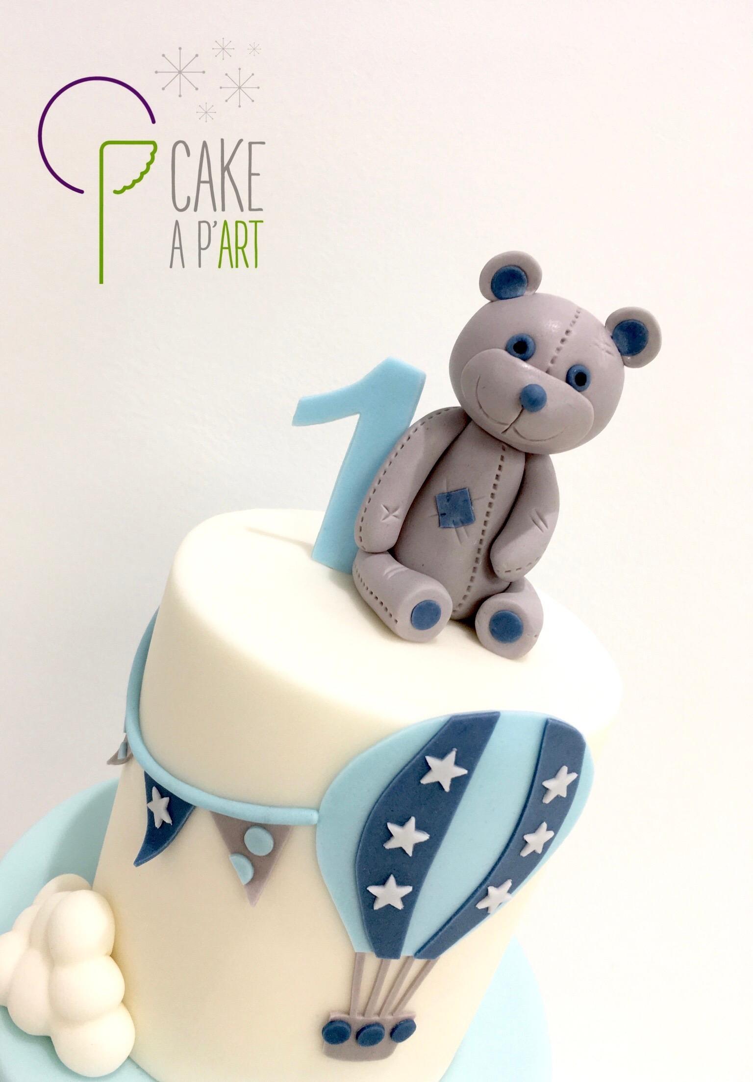 - Gâteau personnalisé anniversaire enfant - Thème Ourson et montgolfière