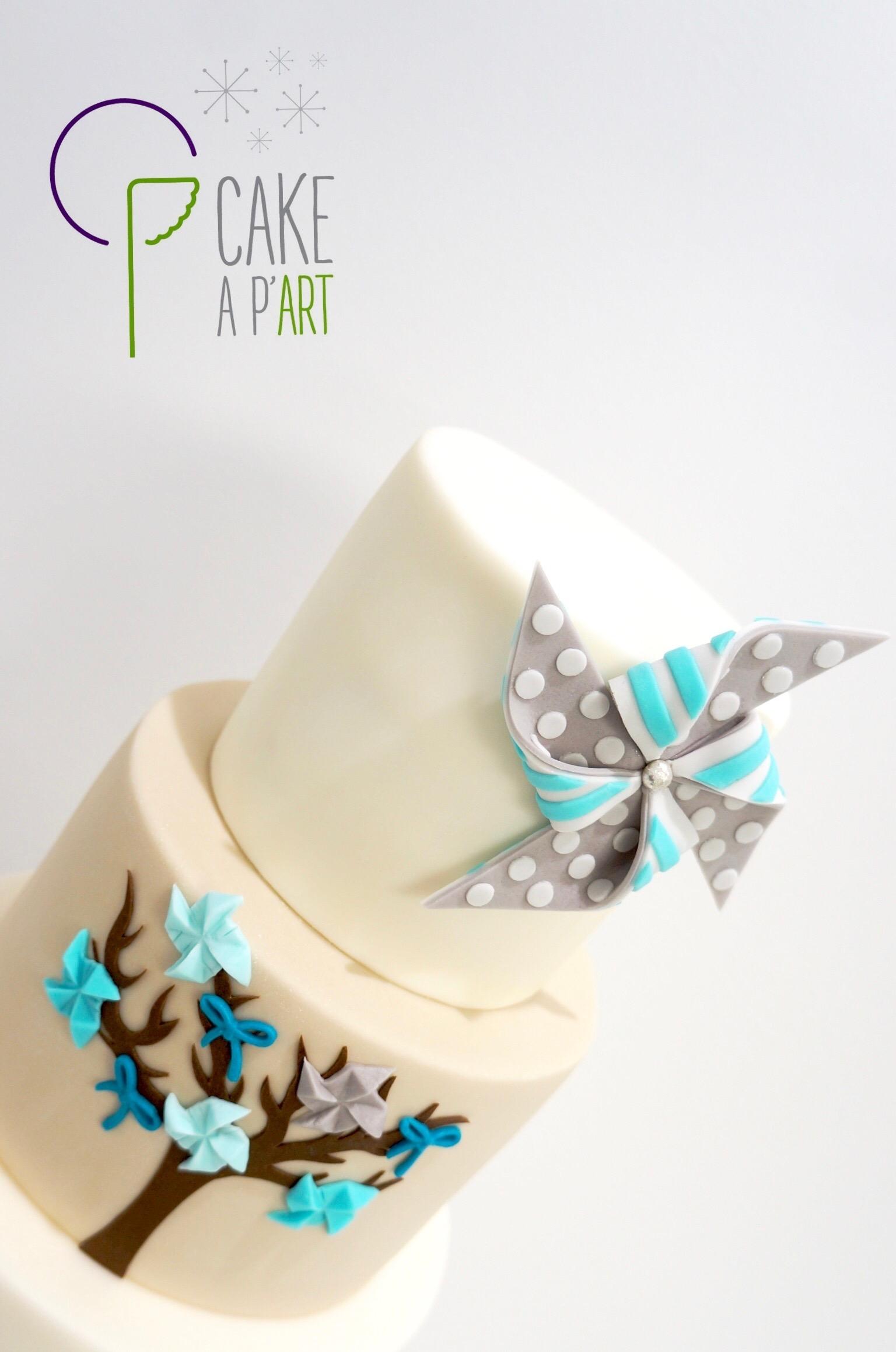 Décor modelage en sucre gâteaux personnalisés - Baptême Thème Moulin à vent et nature
