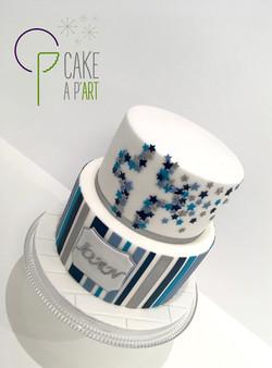 - Gâteau personnalisé baptême enfant - Thème Bleu et Gris