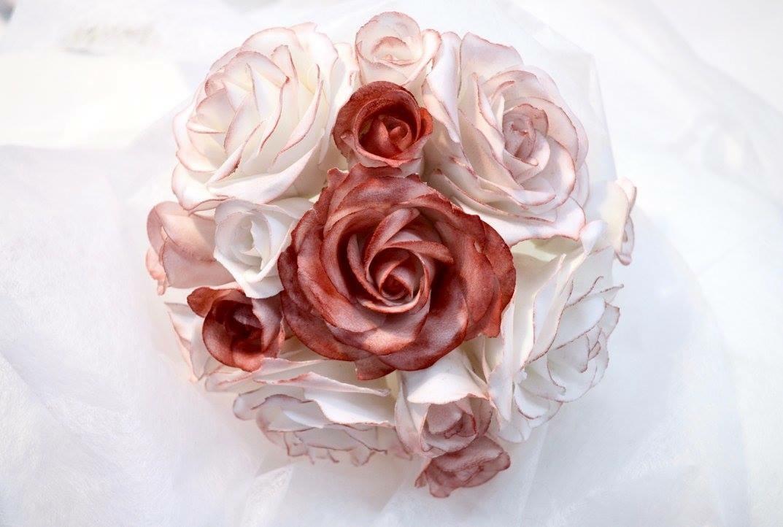 Décor en sucre gâteaux personnalisés - Mariage fleurs Bouquet de roses
