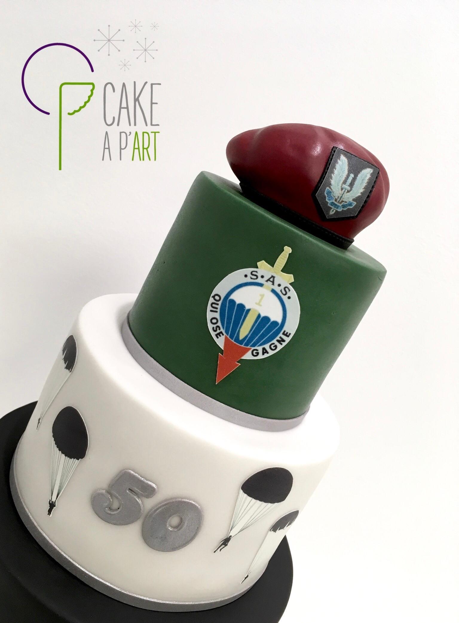Gâteau sur mesure anniversaire adulte - Thème Militaire parachutisme