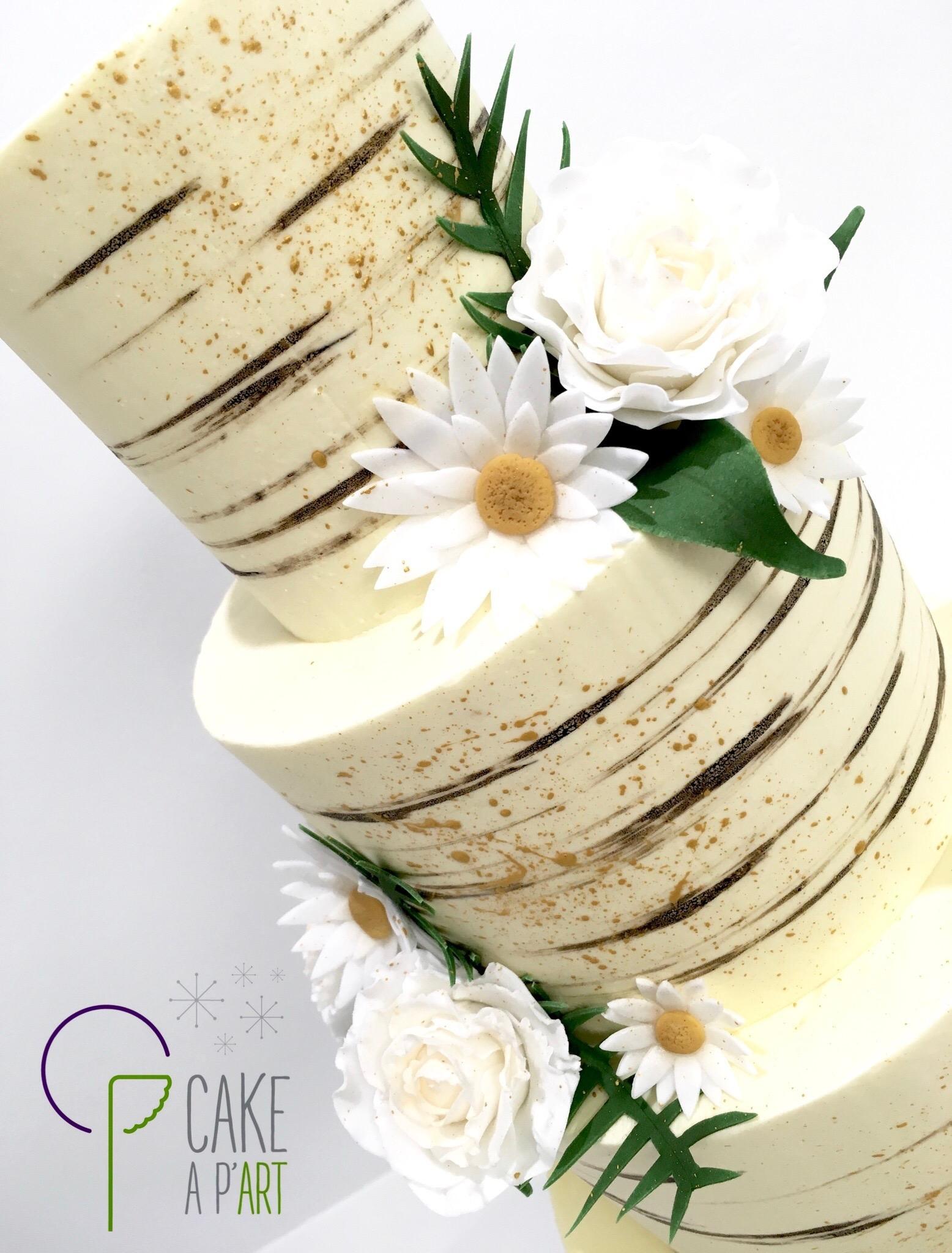 Décor en sucre gâteaux personnalisés - Nude Cake Mariage Roses et marguerites