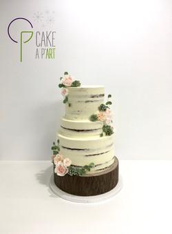 Wedding Cake Pièce montée Mariage - Nude Cake Champêtre floral et plantes grasses
