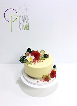Gâteau personnalisé PACS Mariage - Nude Cake Tropical exotique