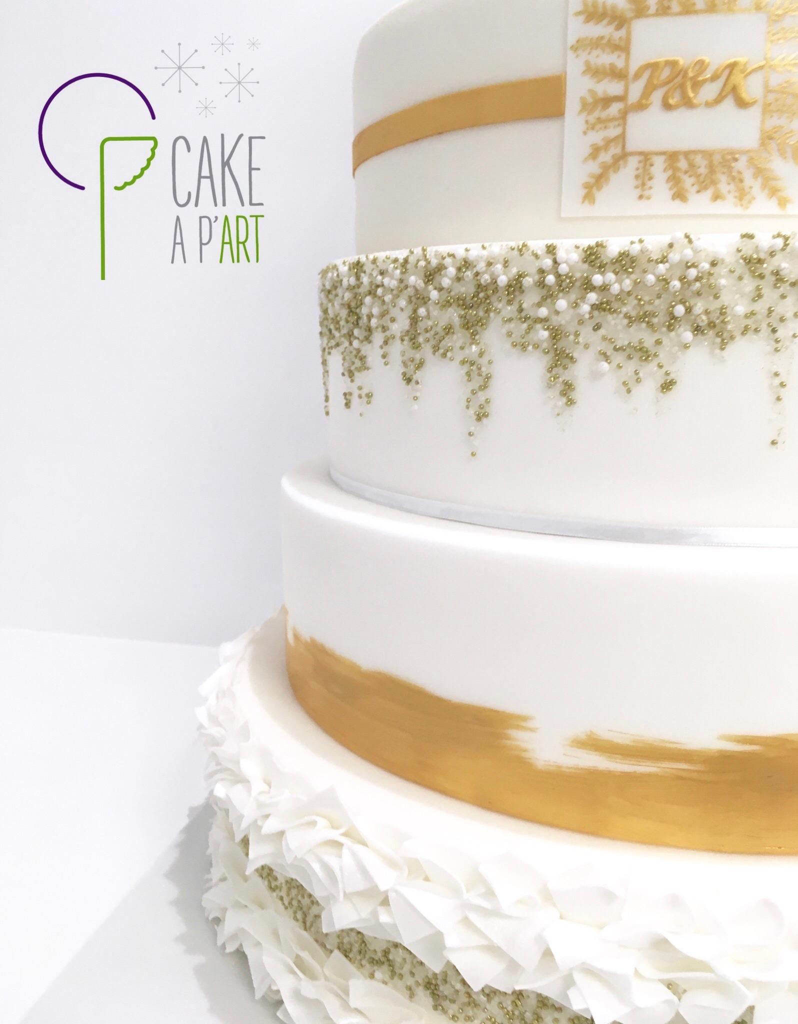 Wedding Cake Pièce montée Mariage - Thème Blanc et Or