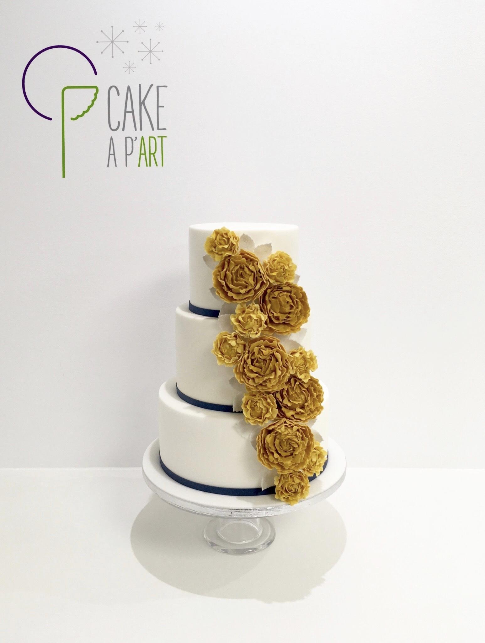 Wedding Cake Pièce montée Mariage - Thème Bleu Jaune moutarde et Pivoines