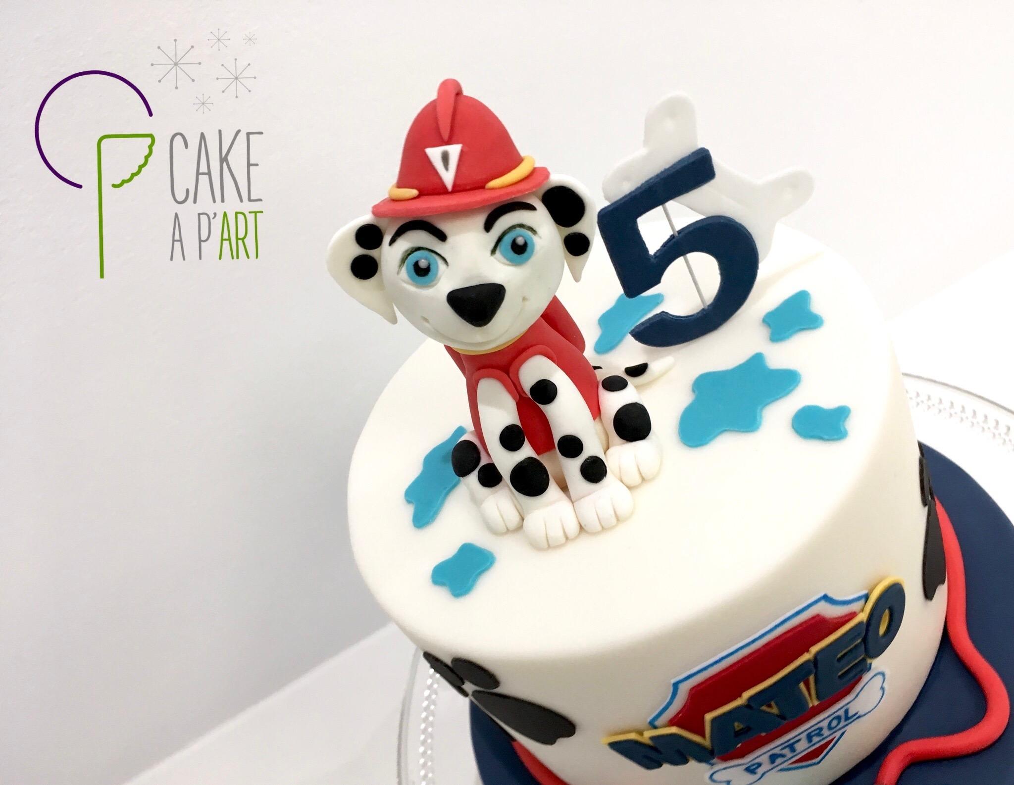 Décor modelage en sucre gâteaux personnalisés - Anniversaire Thème Pat patrouille Chien Marcus