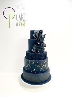 Wedding Cake Pièce montée Mariage - Thème Bleu nuit Doré Or graphique