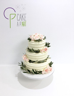 Wedding Cake Pièce montée Mariage - Nude Cake couronne et bouquet de fleurs