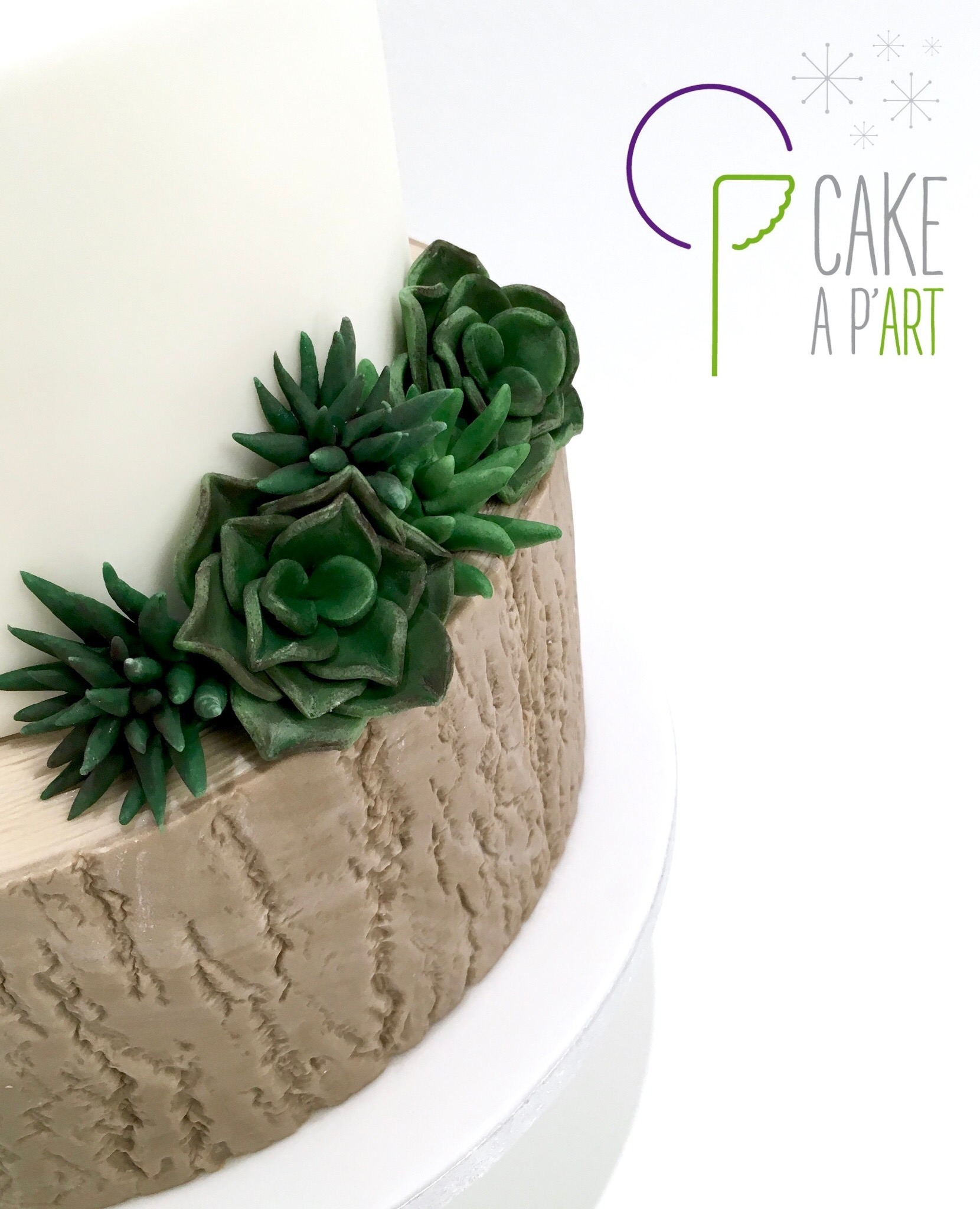 Décor en sucre gâteaux personnalisés - Mariage Plantes grasses