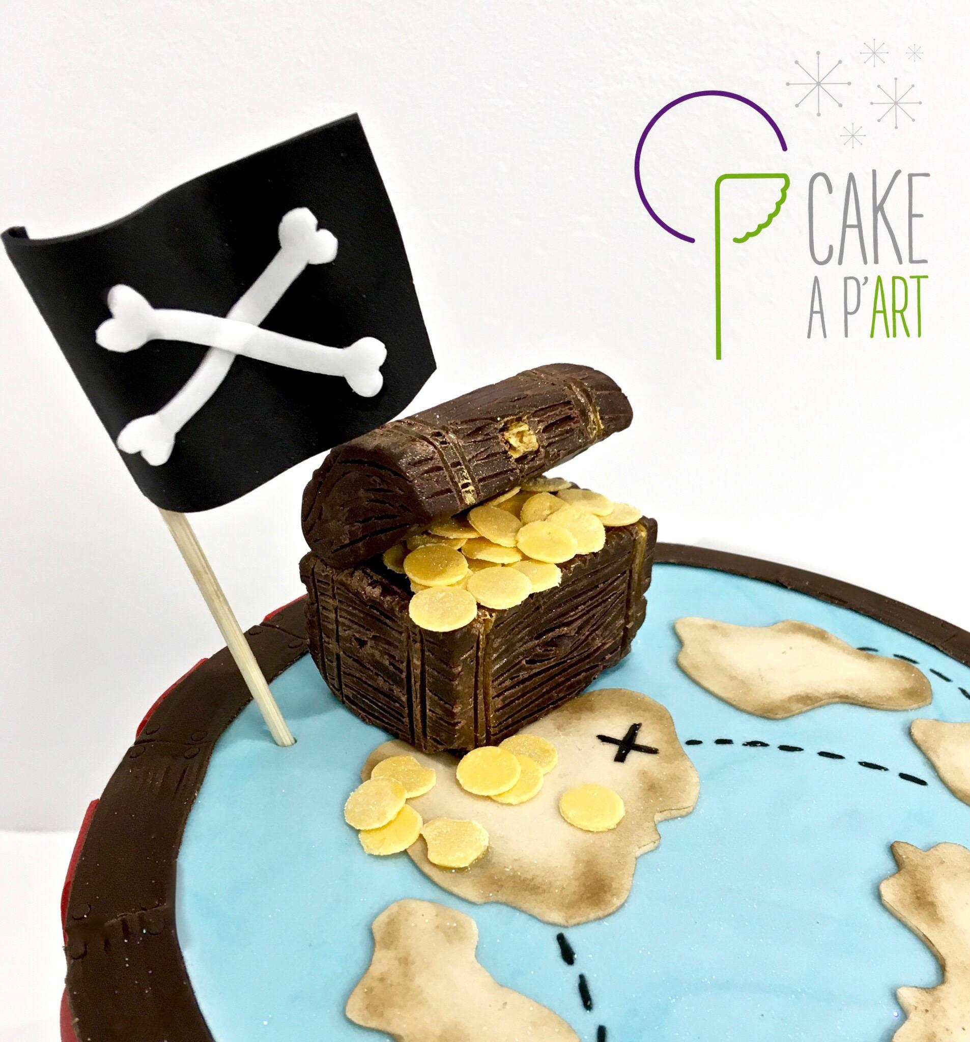 Décor modelage en sucre gâteaux personnalisés - Anniversaire Thème Pirate Coffre fort