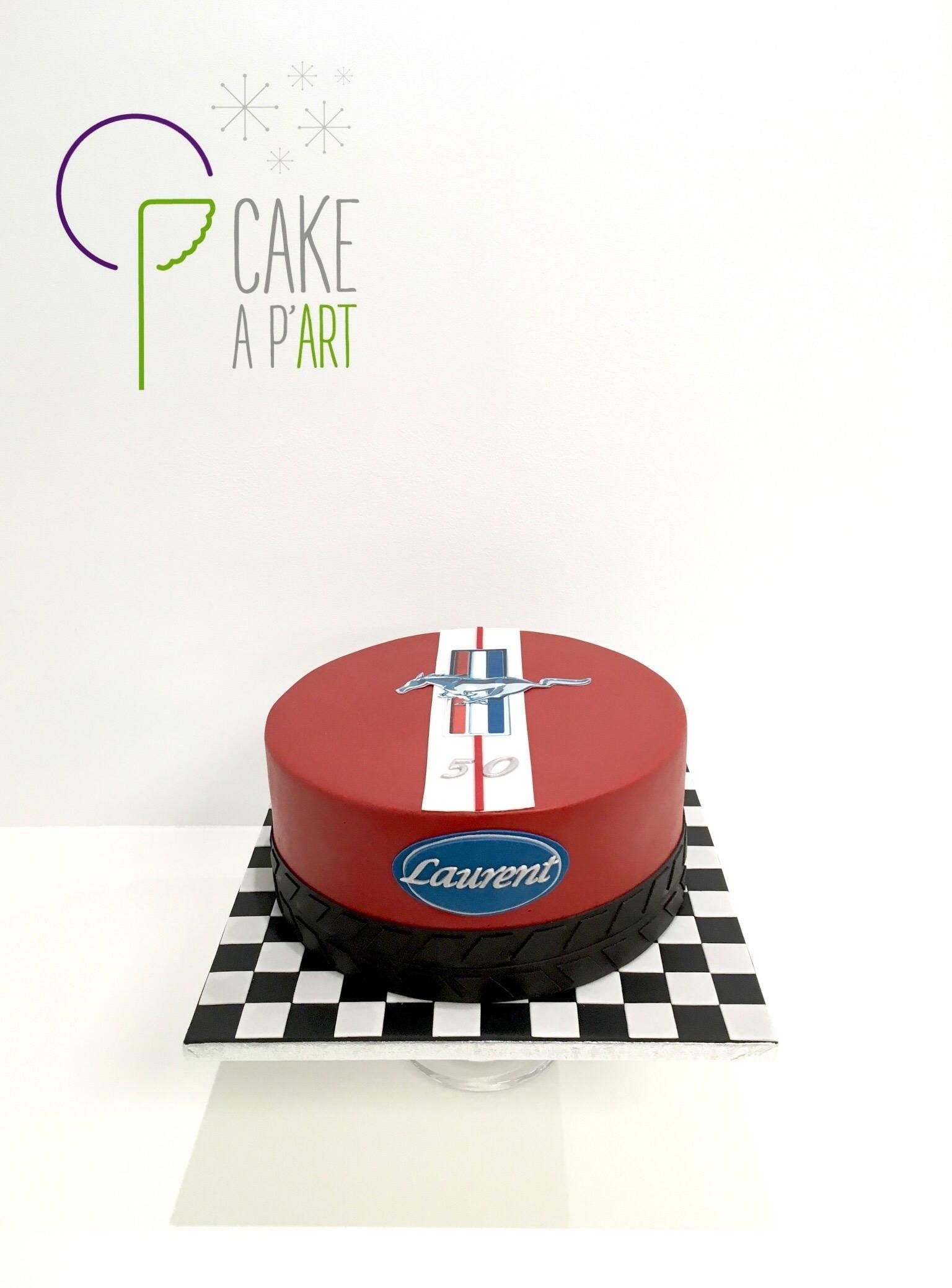 Gâteau sur mesure anniversaire adulte - Thème Mustang