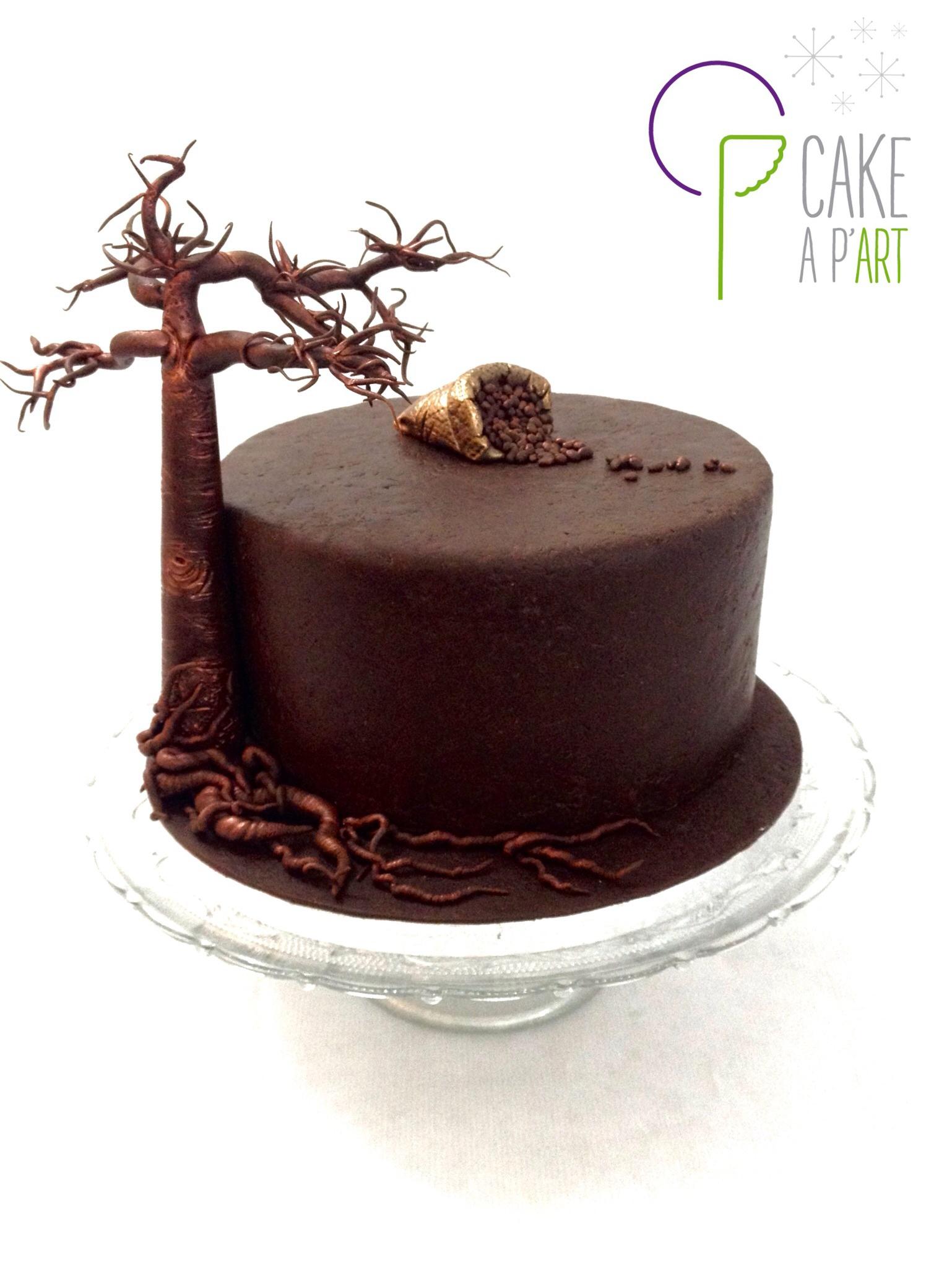 Gâteau sur mesure anniversaire adulte - Thème Madagascar et Baobab