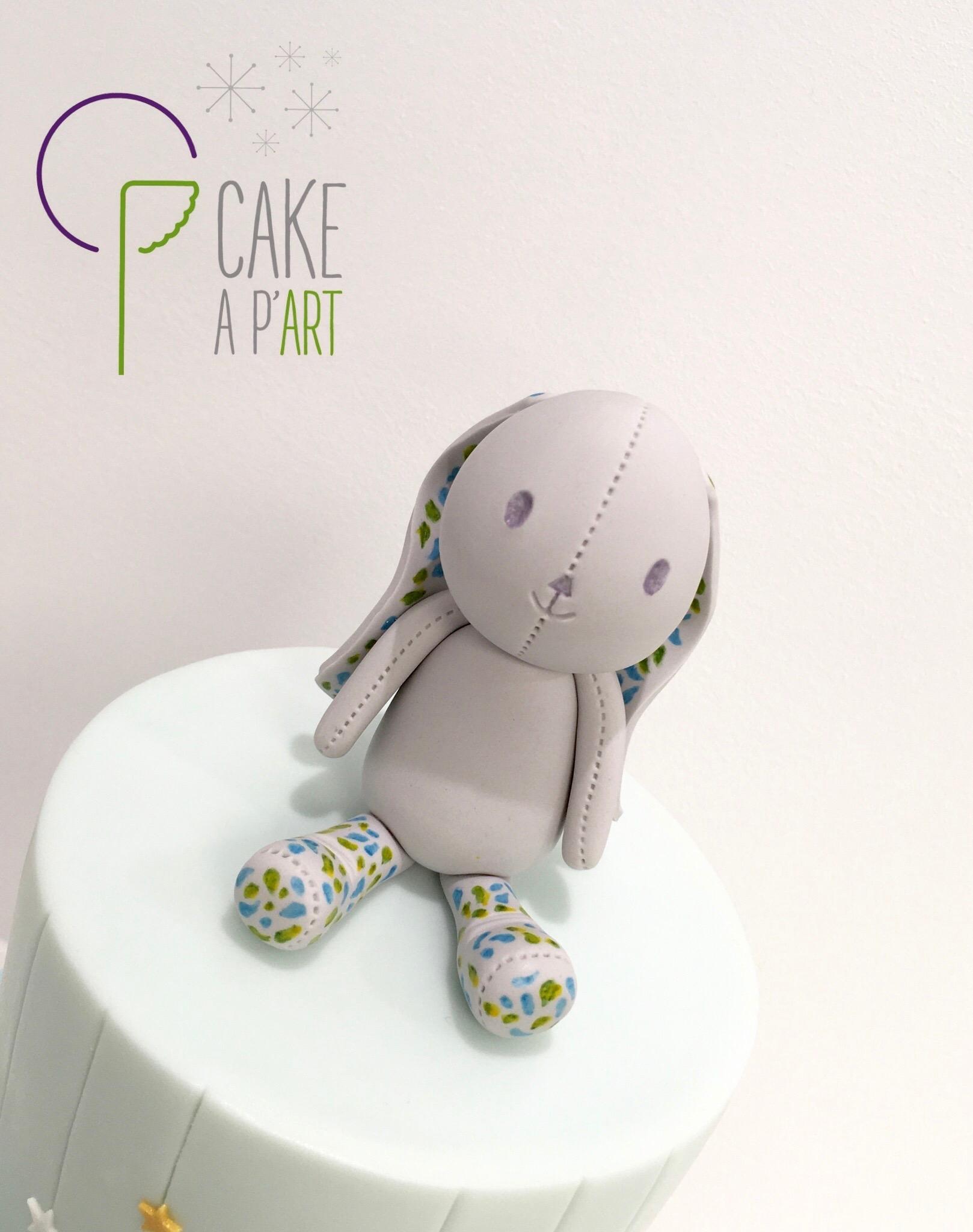Décor en sucre gâteaux personnalisés - Anniversaire Modelage 3D Doudou Lapin