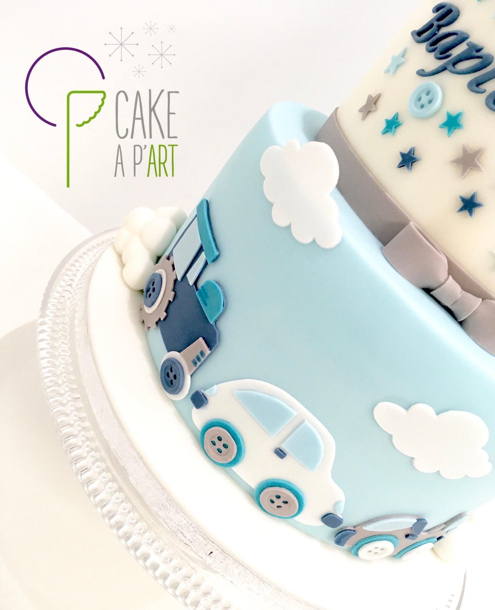 - Gâteau personnalisé anniversaire enfant - Thème Voitures et Lapin crétin