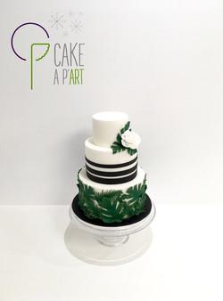 Wedding Cake Pièce montée Mariage - Thème Feuilles exotiques Graphique