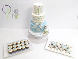 Gâteaux individuels personnalisés Anniversaire - Sablés décorés et Mini cupcakes Ourson et étoiles