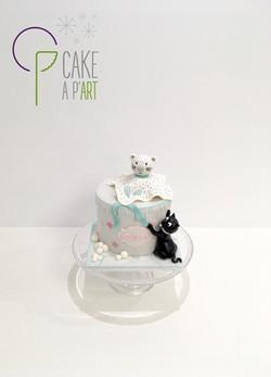- Gâteau personnalisé anniversaire enfant - Thème Banquise Doudou Tigre et Chat