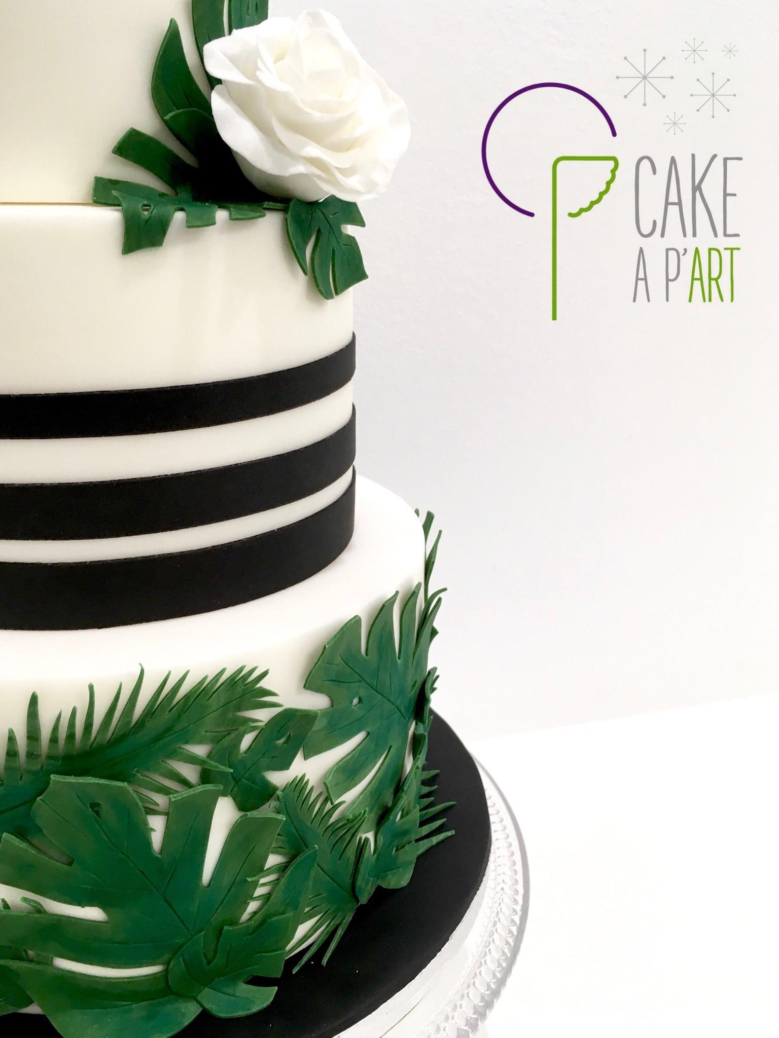 Décor en sucre gâteaux personnalisés - Mariage Feuilles exotiques